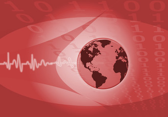 Pulse world on red binary numbers background