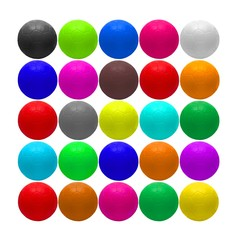 Variety of colored balls isolated over white