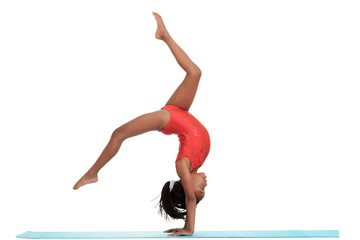 young girl doing gymnastics with motion blur