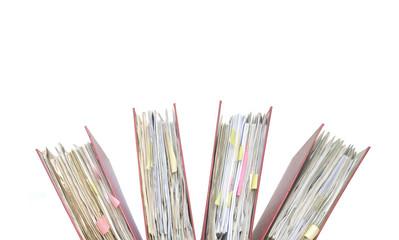 file folders, close up, isolated on white background