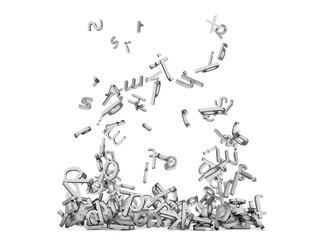 letters falling on white floor