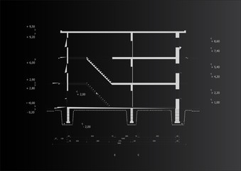 A black vector blueprint of a typical house construction