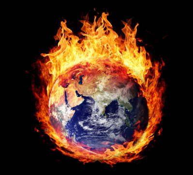 Burning globe earth (east hemisphere)