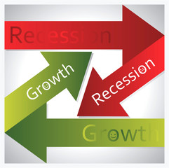 Recession and growth sign
