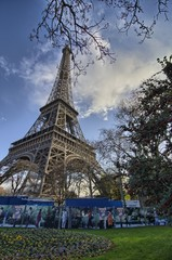 The Eiffel Tower in Paris shot against a blue winter sky