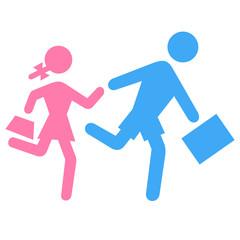 Schulkinder Icons Mädchen und Junge