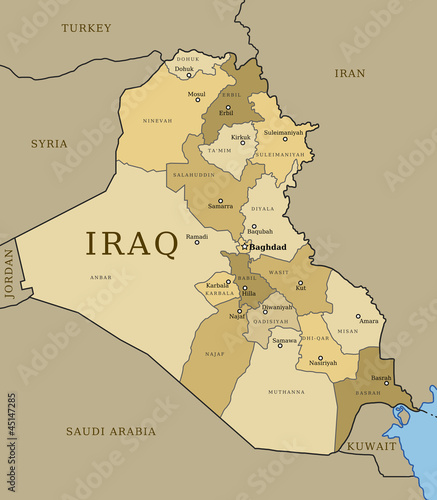 Iraq map with provinces Stock image and royaltyfree vector files