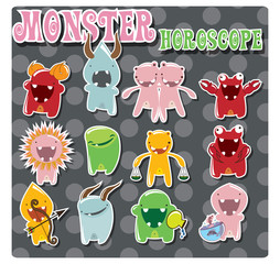 Poster de jardin Creatures Collection of zodiac signs with cute solorful monsters, vector
