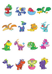 megaset of 16 cute and colorful baby dino's