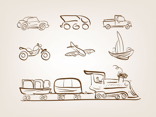 Transportation icons set on white background