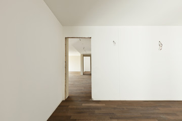 modern interior, empty apartment, white room with door
