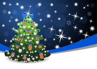 christmas background with blue ribbon and christmas tree