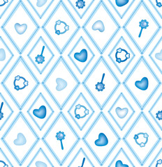 seamless pattern with hearts and blue diamonds