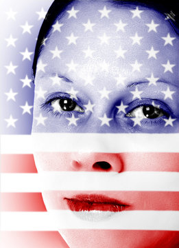 Pretty woman with american flag painted on face