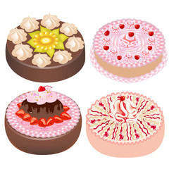 set cake with cherry and strawberries