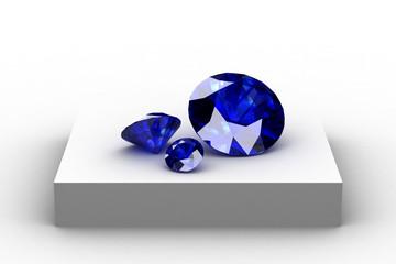 blue sapphire  on white podium