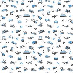 Seamless backdrop, transport icons, wallpaper