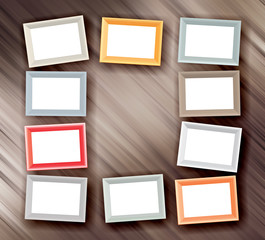 Set of color photo frames on steel background