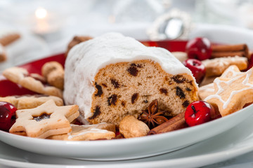 Christmas stollen with cookies and gingerbread