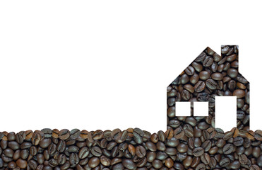Home icon on coffee background and textured
