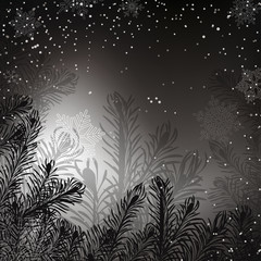 Black and white Christmas background with whirling snow