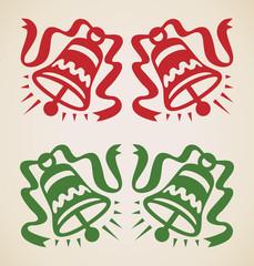 Christmas two bells, vintage design element