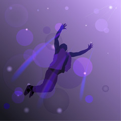 Abstract background with a silhouette of a flying man