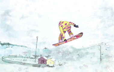 snowboarder - hand drawing, grunge technique