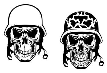 Warrior and pilot skulls