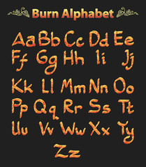 burn alphabet on black