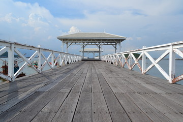Beautiful wooden pier inSi Chang island,Thailand