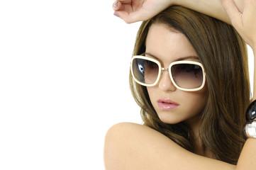 Closeup young girl wearing sunglasses