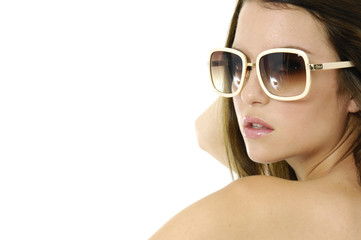 Close up beautiful girl wears sunglasses