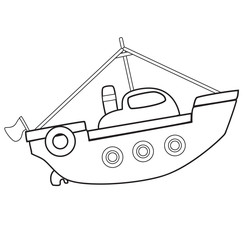 Outlined boat toy on white background - vector illustration