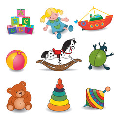 Set of baby's toys.Vector illustration