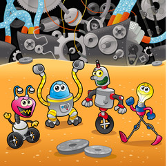 Fotorolgordijn Robots Robots with background. Cartoon and vector illustration.