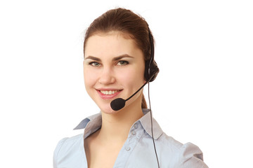 A smiling customer service girl