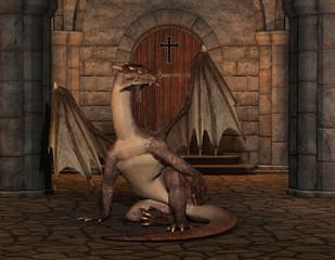 Papiers peints Dragons Drache in einer Kathedrale