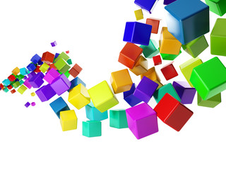 3d illustration: abstract idea. Group of colorful cubes flying i