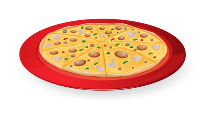 pizza in red dish