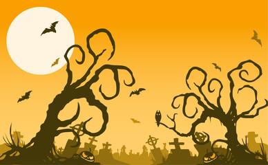 halloween foggy cemetary