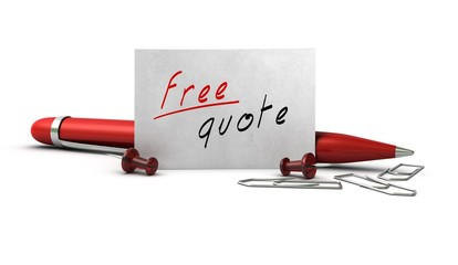 Free quote, white business card