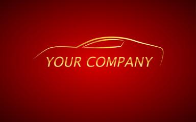 Kırmızı fonda yazılı araba
