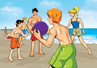 Illustration of people having fun at the beach