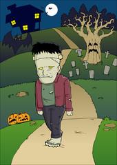Cartoon illustration of a frankenstein monster