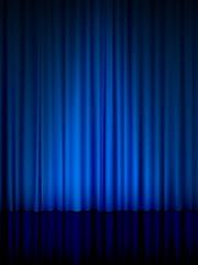 blue theatre curtain vertical