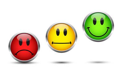 Smiley Buttons Rot Gelb Grün