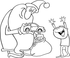 santa with kid for coloring book