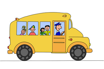 School bus with children, hand drawing.