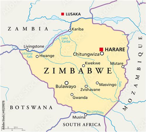 Zimbabwe map (Simbabwe Landkarte)\